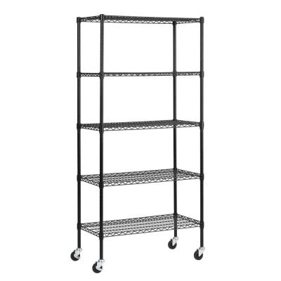 72 in. H x 36 in. W x 18 in. D 5 Shelf Black Wire Mobile Commercial Shelving Unit