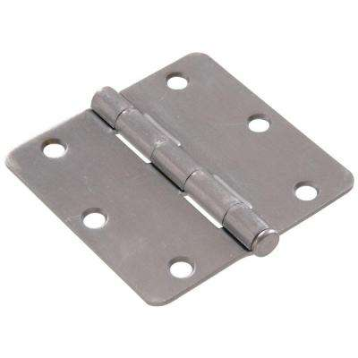 3 in. Satin Chrome Residential Door Hinge with 1/4 in. Round Corner Removable Pin Full Mortise (9-Pack)