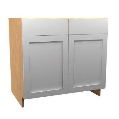 36x34.5x24 in. Elice Sink Base Cabinet with Pullout Caddy 2 Soft Close Doors and 2 False Drawer Fronts in Polar White