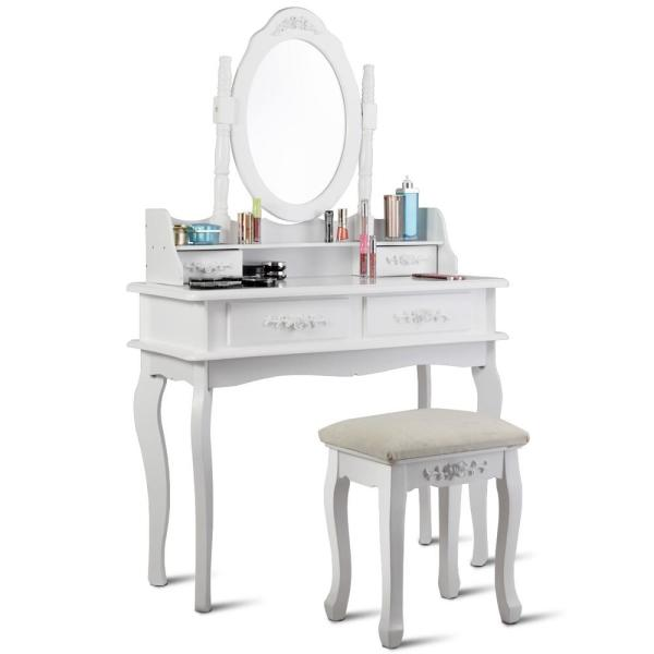 Costway 2 Piece White Vanity Makeup, Mirrored Dressing Table Set Next