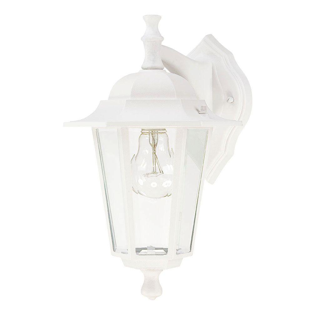 Westinghouse 1-Light Textured White on Cast Aluminum Exterior Wall Lantern with Clear Glass Panels