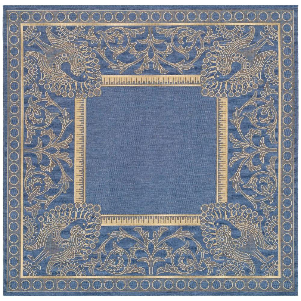 Indoor Outdoor Rugs Square: Safavieh Courtyard Blue/Natural 8 Ft. X 8 Ft. Square