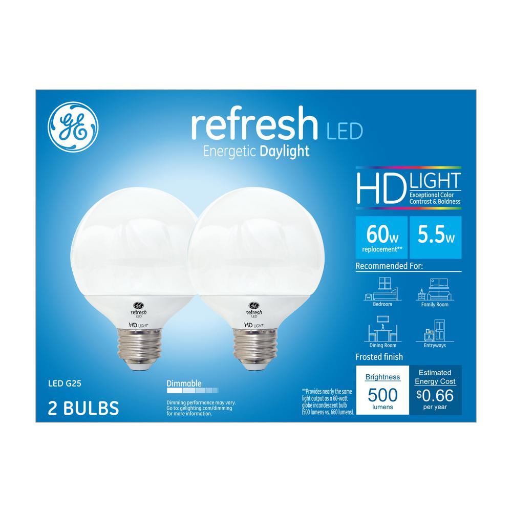 60W Equivalent Daylight (5000K) High Definition G25 Globe White Dimmable LED Light Bulb (2-Pack)