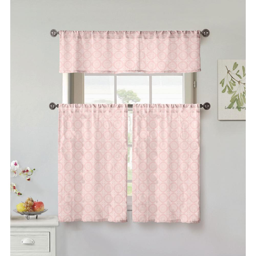 Lolana Blush Kitchen Curtain Set - 56 in. W x 15 in. L (3-Piece)