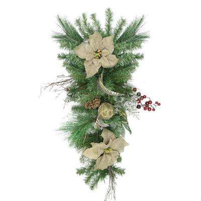 28 in. Unlit Autumn Harvest Burlap Poinsettia Moss Ball Mixed Pine and Berries Fall Teardrop Swag