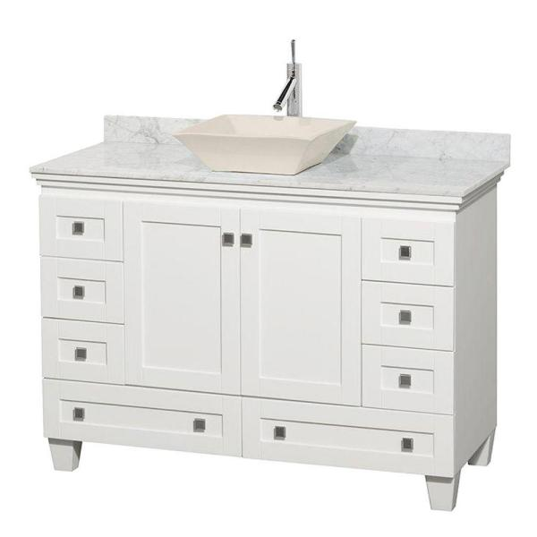 Acclaim 48 in. W Vanity in White with Marble Vanity Top in Carrara White and Bone Sink