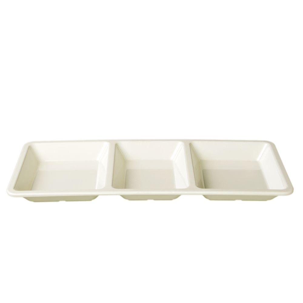 Restaurant Essentials Jazz 28 oz., 15 in. x 6-1/4 in. x 1 3/8 in. Rectangular 3 Section Compartment Tray in Pearl (1-Piece)