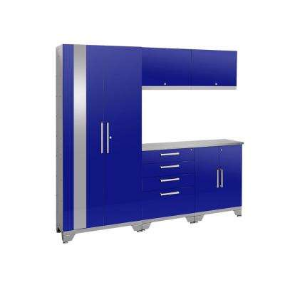 Performance 2.0 72 in. H x 78 in. W x 18 in. D Steel Garage Cabinet Set (6-Piece) in Blue with Stainless Steel Top