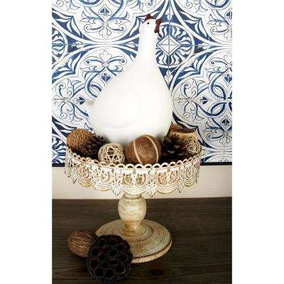 10 in. W x 9 in. H Round Whitewashed and Rust Brown Cake Stand with Cutout Bunting Overhang