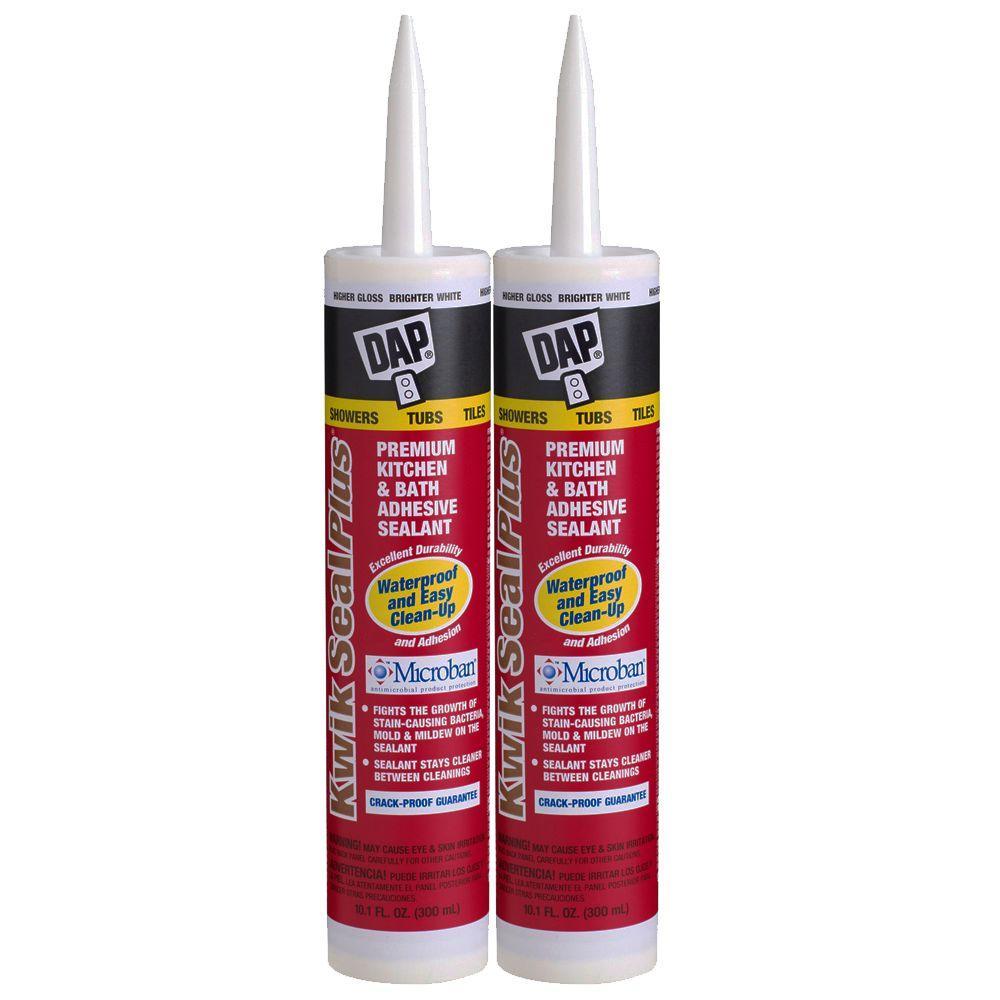 DAP Kwik Seal Plus 10.1 oz. White Premium Kitchen and Bath Adhesive Caulk (2-Pack)-DISCONTINUED