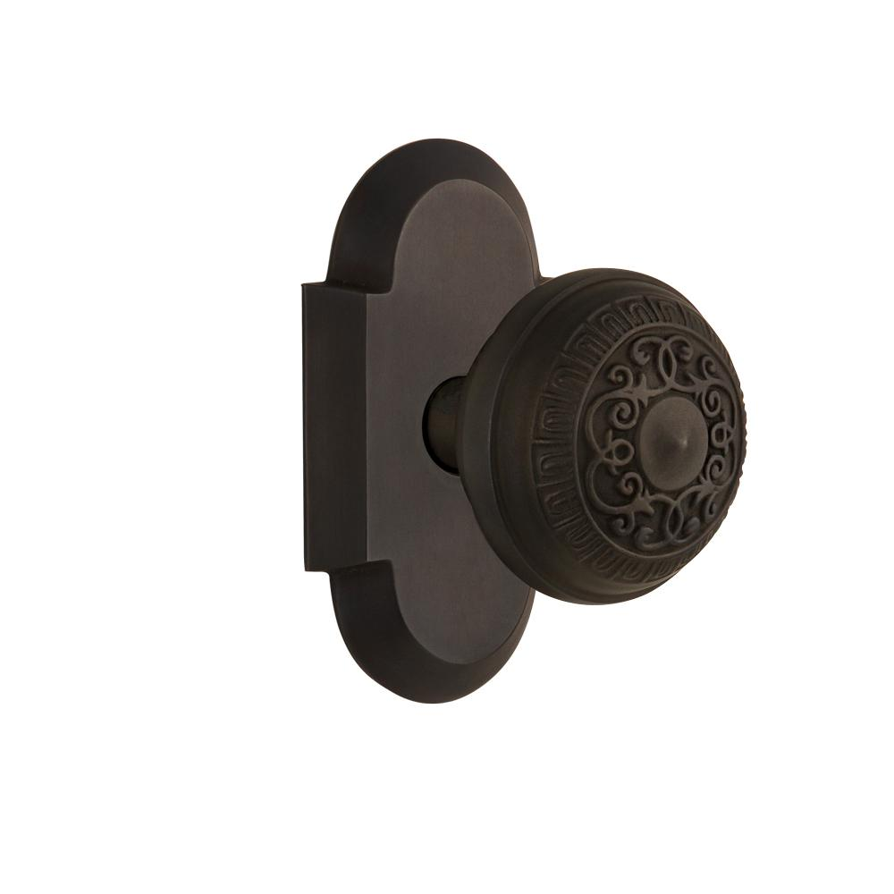 Cottage Plate 2-3/8 in. Backset Oil-Rubbed Bronze Passage Hall/Closet Egg &