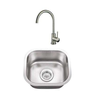 Undermount Stainless Steel 14-1/2 in. Small Single Bowl Bar Sink with Faucet in Brushed Nickel
