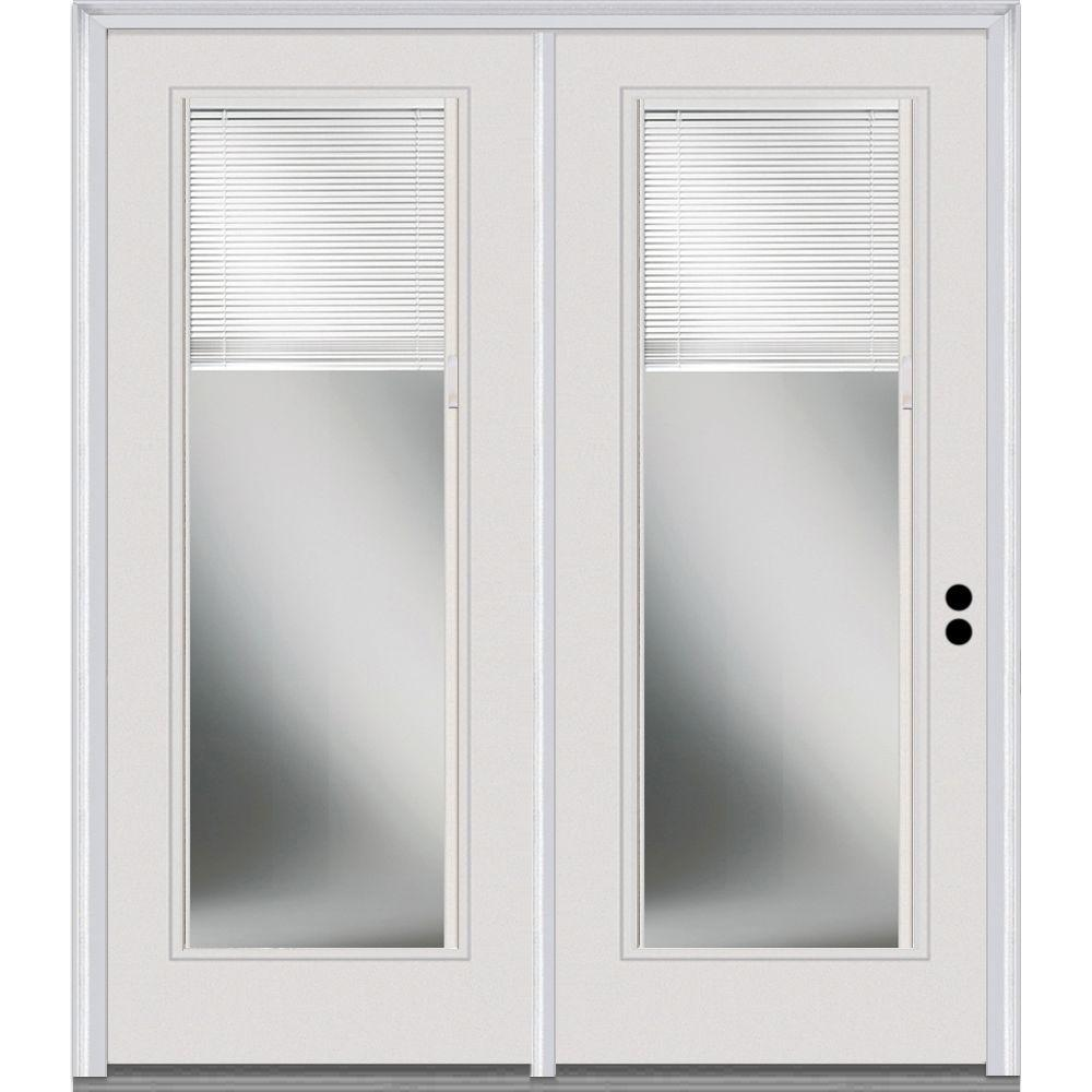 MMI Door 68 in. x 80 in. Clear Glass Internal Blinds Primed Fiberglass Smooth Prehung Left Hand Full Lite Stationary Patio Door