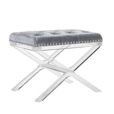 Alicia x -Base Silver Vanity Bench with Acrylic Legs