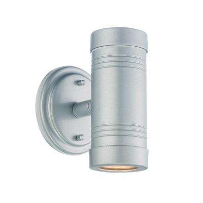 Cylinders Collection 1-Light Brushed Silver Outdoor Wall-Mount Light