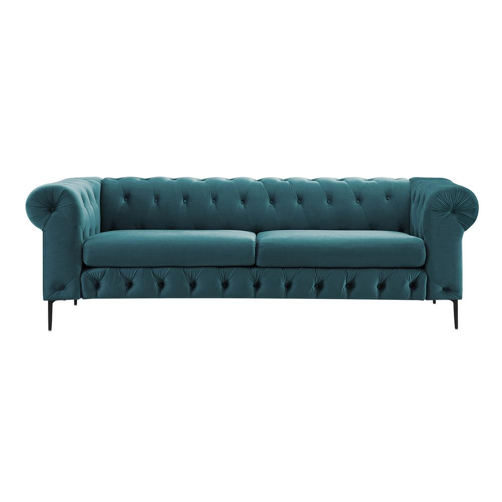 Boyel Living 91 In Peacock Blue Velvet 3 Seats Chesterfield Style Sofa Bed With Nailhead Trim Seat And Paint Legs Wfzy Bl 007 The Home Depot
