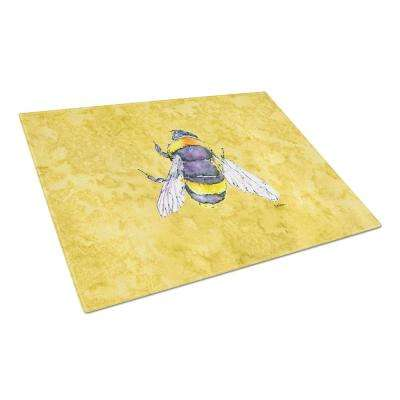 Bee on Yellow Tempered Glass Large Cutting Board