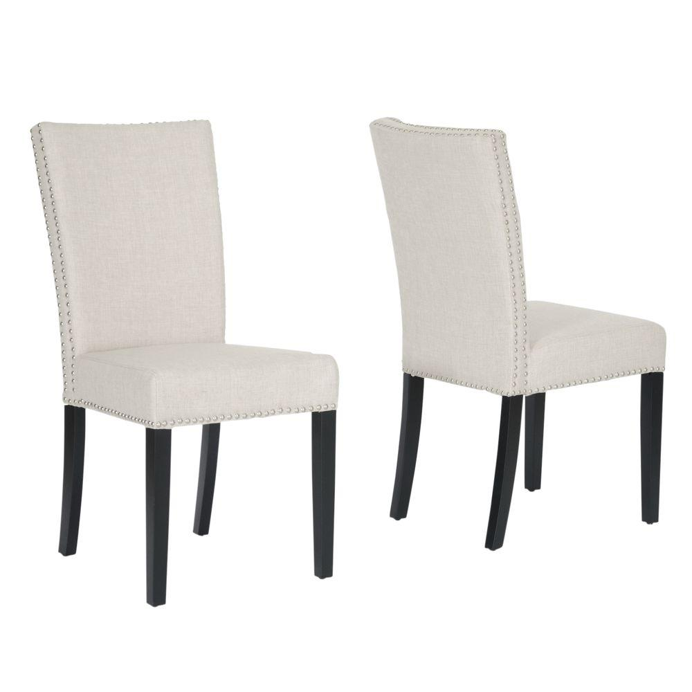 upholstered dining chairs patterned baxton studio harrowgate beige fabric upholstered dining chairs set of 2