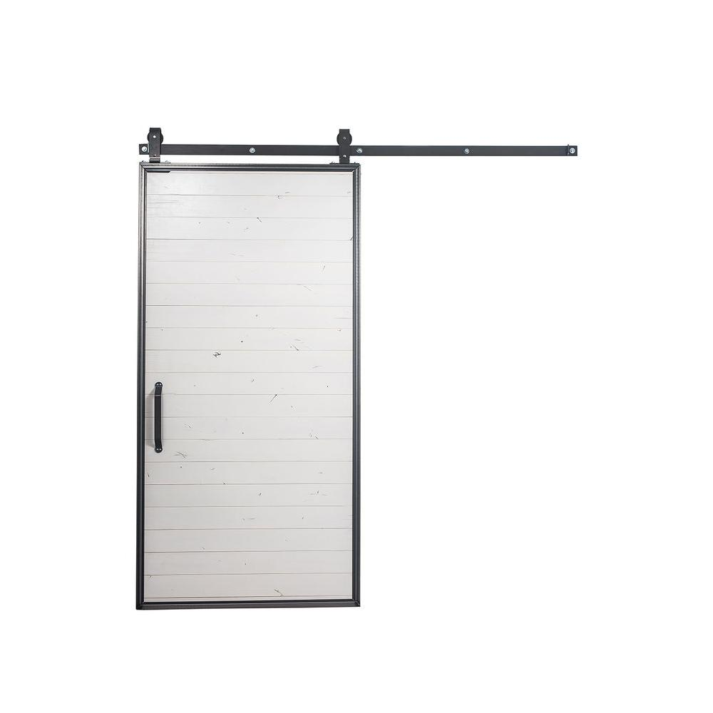 42 in. x 84 in. Mountain Modern White Wood Barn Door
