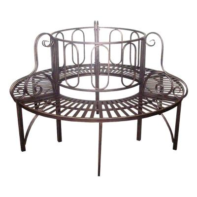 Roundabout 2-Person 59 in. W Bronze Metal Outdoor Bench