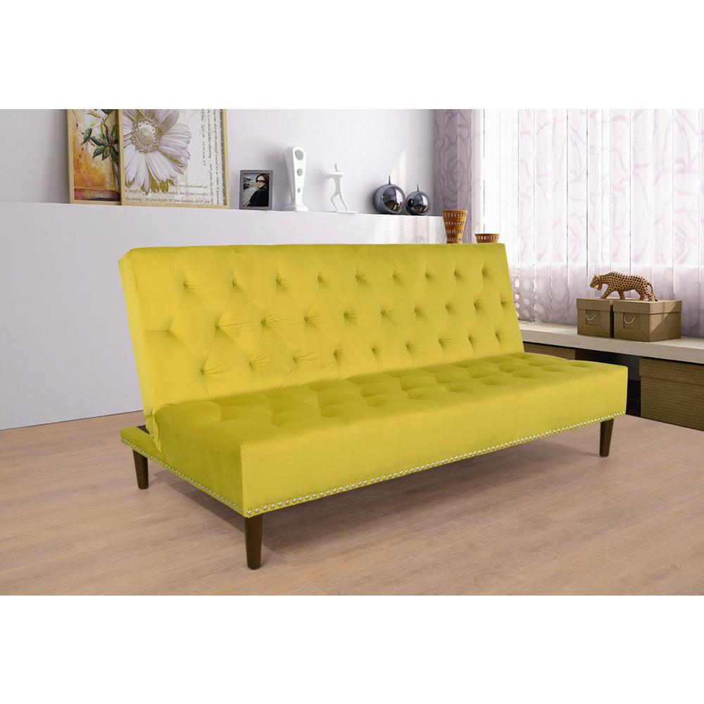 Canary Yellow Convertible Sofa Bed Futon