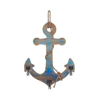 Blue Wooden Wall Anchor with Rope and Hanging Hooks