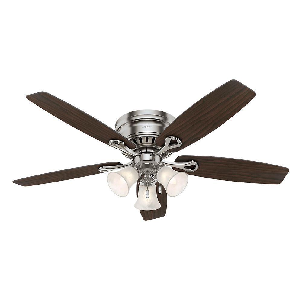 hunter oakhurst 52 in indoor low profile brushed nickel ceiling fan with light 52124 the home. Black Bedroom Furniture Sets. Home Design Ideas