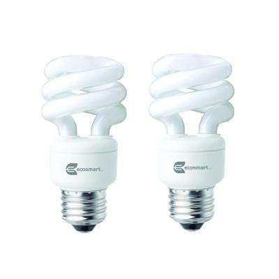 40-Watt Equivalent E26 Spiral CFL Light Bulb Daylight (2-Pack)