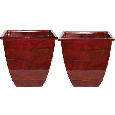 14 in. Resin Acid Stained Square Planter (Pack of 2)