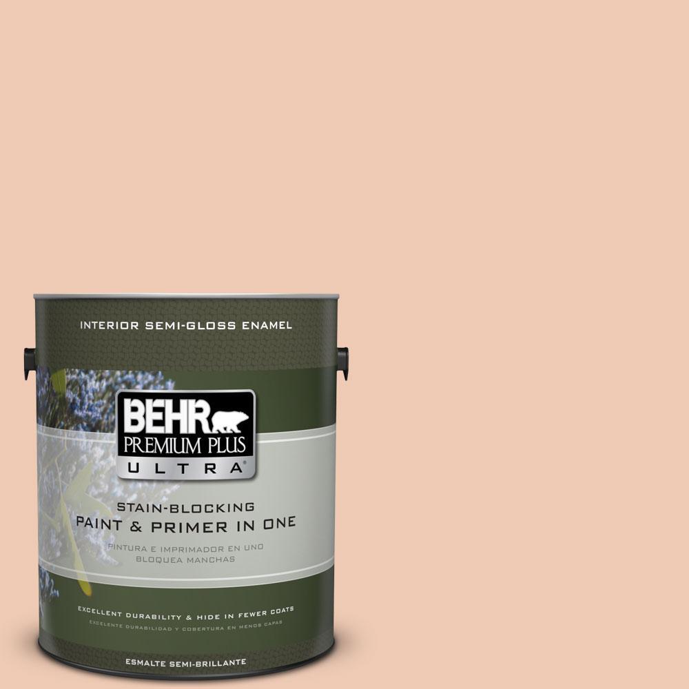 BEHR Premium Plus Ultra 1-gal. #240E-2 Peach Bud Semi-Gloss Enamel Interior Paint