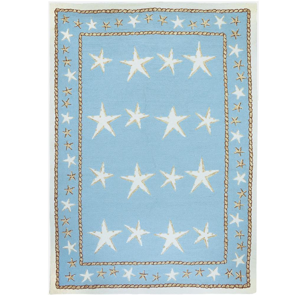 Homefires Starfish Scatter Blue 8 Ft. X 10 Ft. Indoor