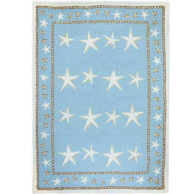 Starfish Scatter Blue 8 ft. x 10 ft. Indoor/Outdoor Area Rug