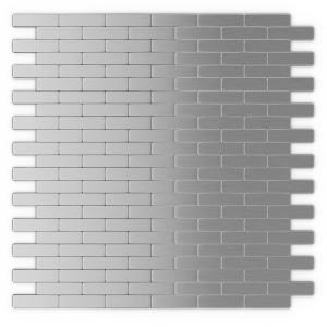 Inoxia Speedtiles Take Home Sample Bricky Stainless Steel 4 In X 4 In 5 Mm Metal Peel And Stick Wall Mosaic Tile 0 11 Sq Ft Each Sam Id888 1 The Home Depot