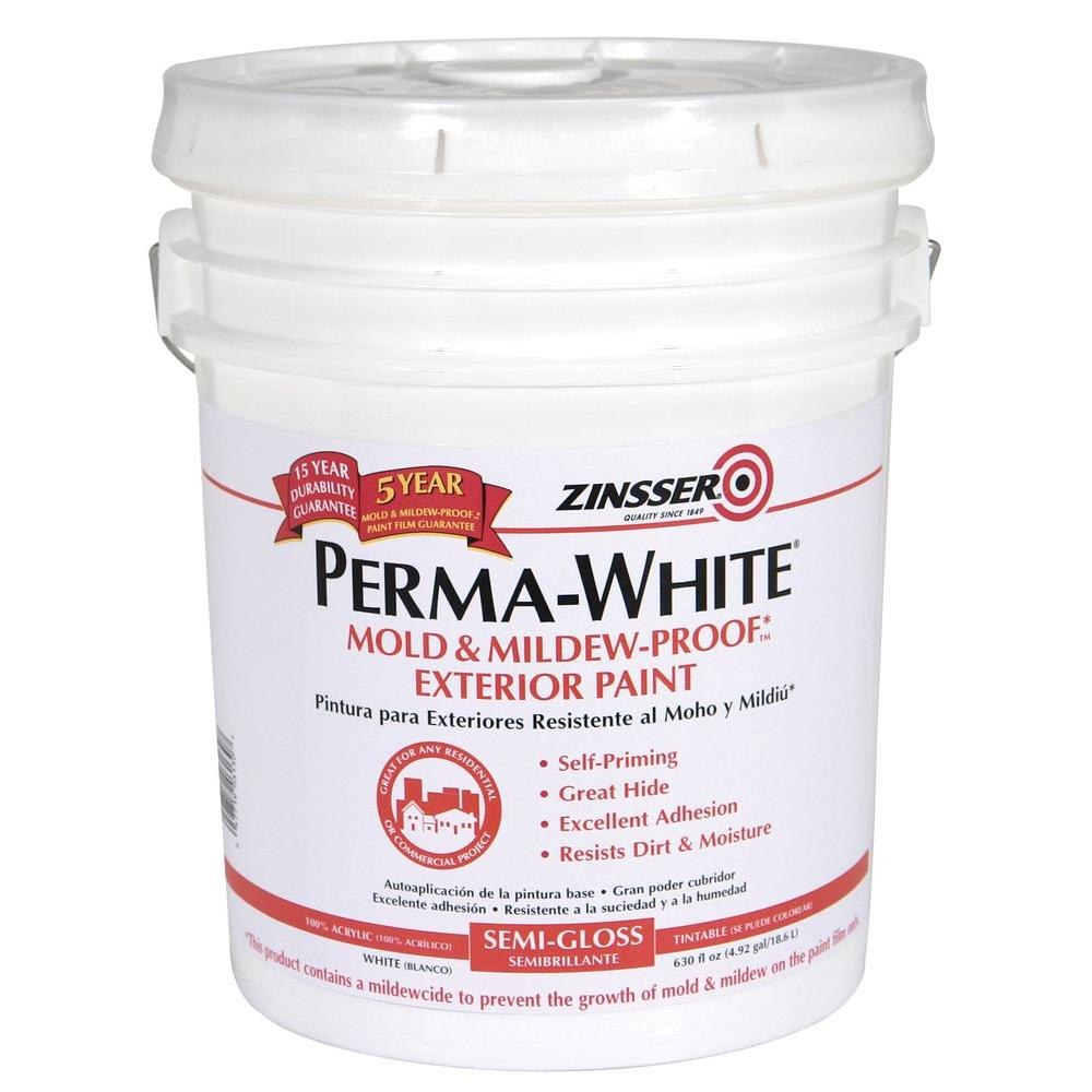 Zinsser 5 Gal Perma White Mold And Mildew Proof White Semi Gloss Exterior Paint 3130 The Home