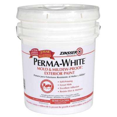 Perma-White 5 gal. Mold & Mildew-Proof White Semi-Gloss Exterior Paint