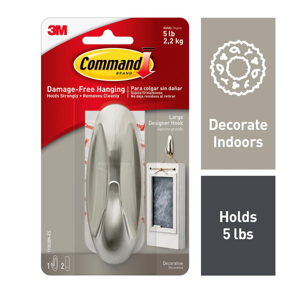 Command Large Brushed Nickel Designer Hook 3 Piece Per Pack