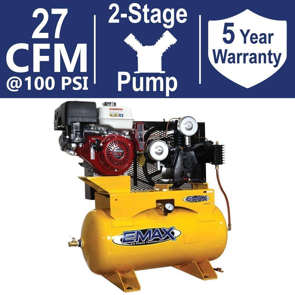 INDUSTRIAL PLUS 30 Gal. 13 HP HONDA GX 2-Stage Truck Mount Gas Horizontal Air Compressor