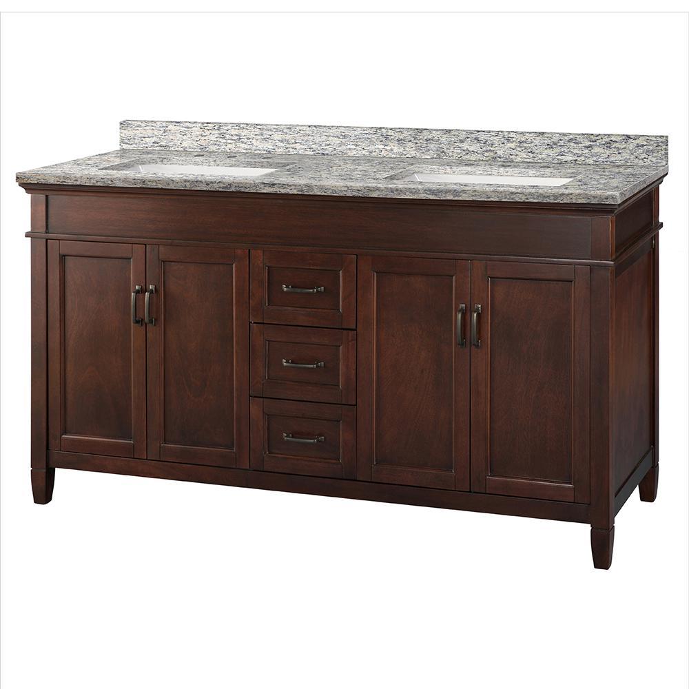 Ashburn 61 in. W x 22 in. D Vanity in Mahogany with Granite Vanity Top in Santa Cecilia with White Sink