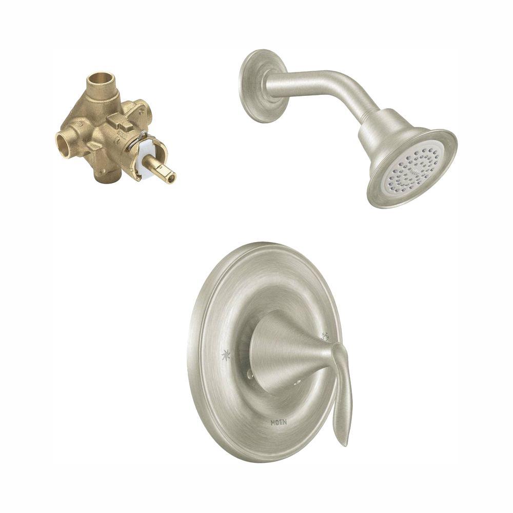 Eva Posi-Temp Single-Handle 1-Spray Shower Faucet Trim Kit in Brushed Nickel (Valve Included)