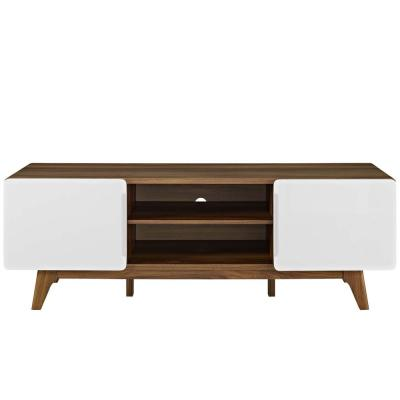 Tread 59 in. Walnut White TV Stand