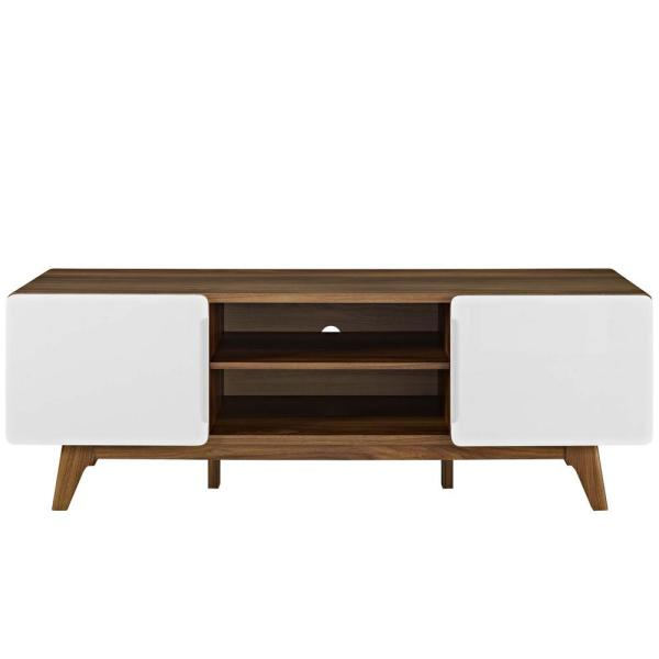 Tread 59 in. Walnut and White Wood TV Stand Fits TVs Up to 65 in. with Storage Doors