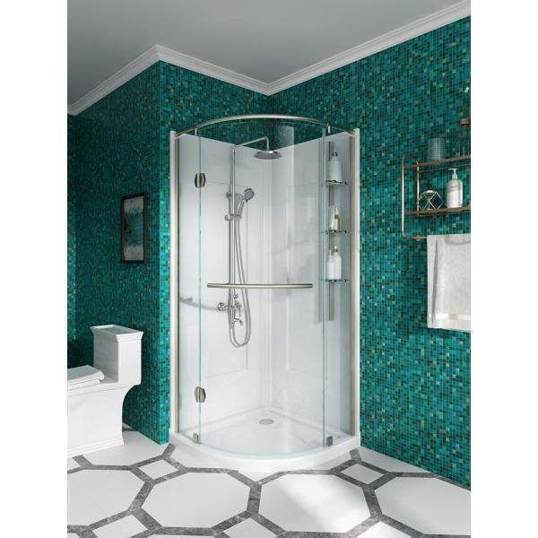 Glamour 32 in. x 76.40 in. Corner Drain Corner Shower Kit in White and Satin Nickel
