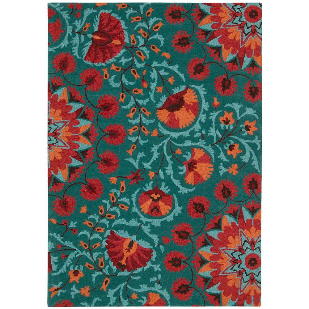 Marvelous Nourison Suzani Teal 5 Ft. 3 In. X 7 Ft. 5 In. Area Rug 139689   The Home  Depot