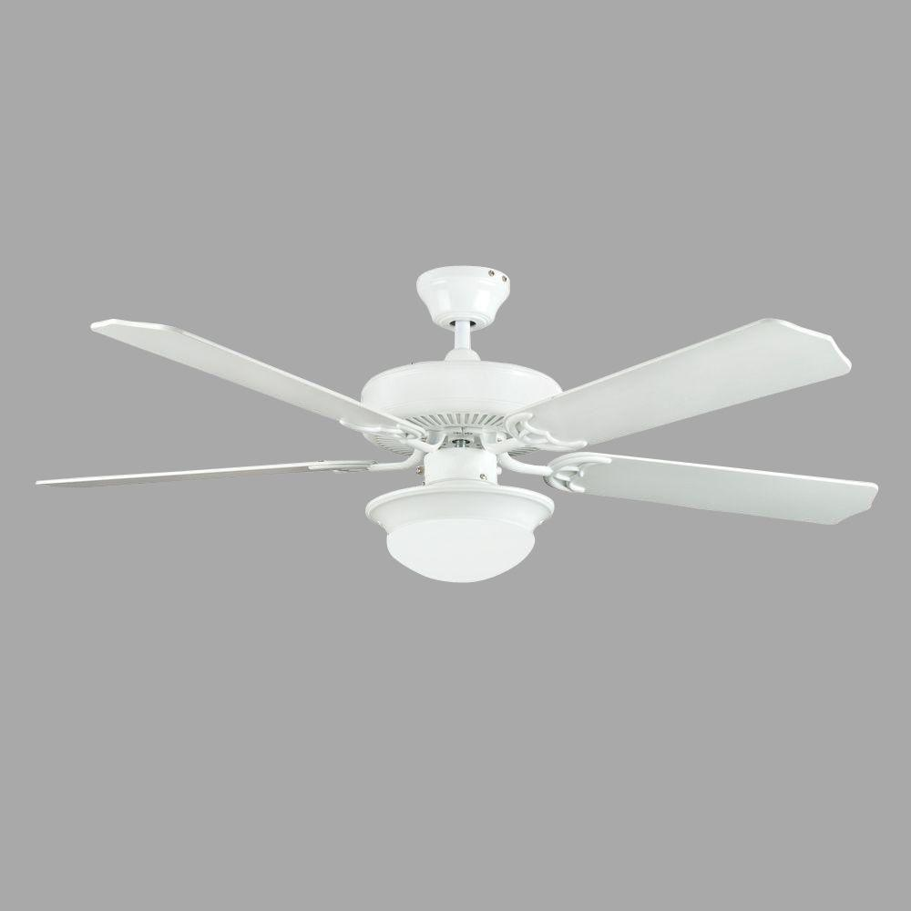 Radionic Hi Tech Neptune 52 In White Ceiling Fan With Light Kit And 5 Blades