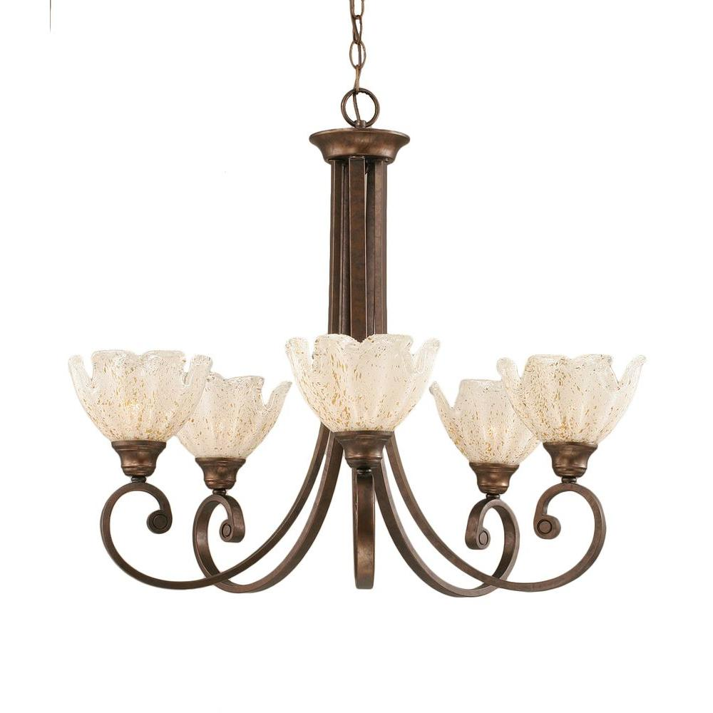 Concord 5-Light Bronze Chandelier with Gold Ice Glass