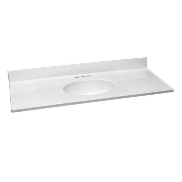 49 in. W x 19 in. D Cultured Marble Vanity Top in Solid White with Solid White Basin with 4 in. Faucet Spread