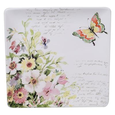 Spring Meadows Multi-Colored 12.5 in. Earthenware Square Platter