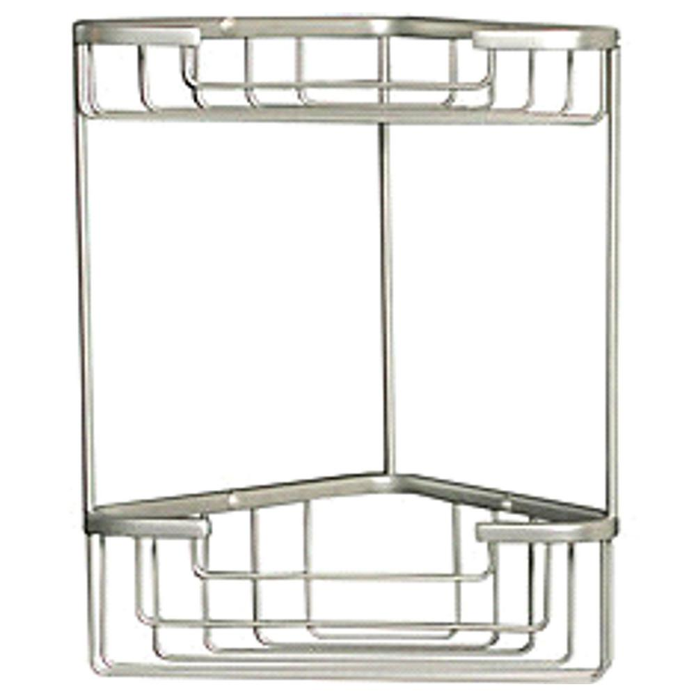Bon Wiretone Double Corner Basket In Brushed Nickel