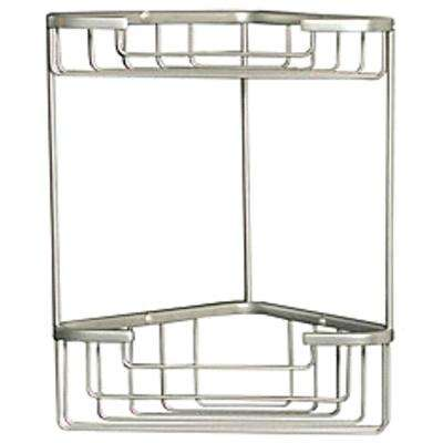 Wiretone Double Corner Basket in Brushed Nickel