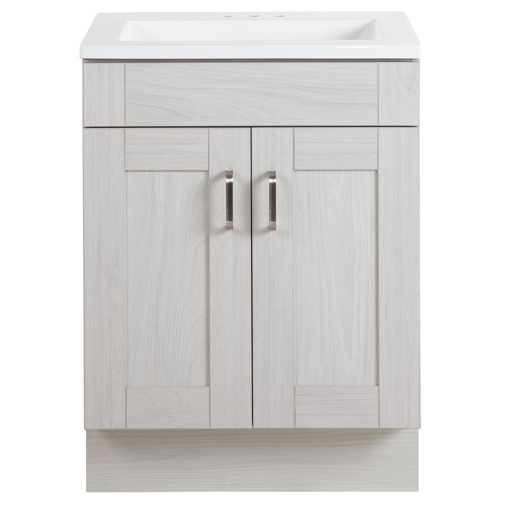 Arla 24 in. Bathroom Vanity in Elm Sky with Cultured Marble Vanity Top in White with White Sink